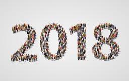 Ano novo feliz 2018 O grande e grupo de pessoas diverso recolheu junto na forma do número 2018 ilustração stock