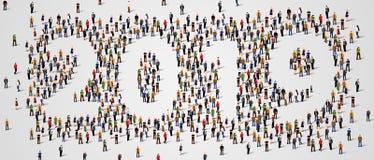 Ano novo feliz 2019 O grande e grupo de pessoas diverso recolheu junto na forma do número 2019 ilustração royalty free