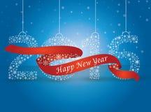Ano novo feliz 2016, o número feito com os flocos envolvidos no vermelho ilustração royalty free