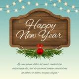 Ano novo feliz Placa de madeira do sinal com decorações Holid do vetor Fotos de Stock