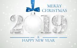 Ano novo feliz 2019, projeto de prata dos números do cartão, bola do Xmas com curva azul, ilustração do vetor ilustração stock