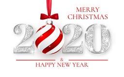 Ano novo feliz 2020, projeto de prata dos números do cartão, bola do Xmas com curva vermelha, ilustração do vetor ilustração do vetor