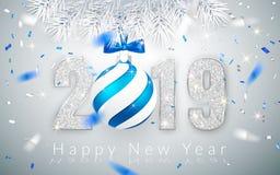 Ano novo feliz 2019, projeto de prata dos números do cartão, confete brilhante de queda, bola do Xmas com curva azul, ilustração  ilustração do vetor