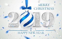 Ano novo feliz 2019, projeto de prata dos números do cartão, confete brilhante de queda, bola do Xmas com curva azul, ilustração  ilustração royalty free