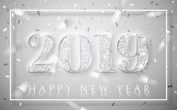 Ano novo feliz 2019, projeto de prata dos números do cartão, confete brilhante de queda, ilustração do vetor ilustração royalty free