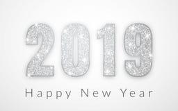 Ano novo feliz 2019, projeto de prata dos números do cartão, ilustração do vetor ilustração royalty free