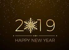 Ano novo feliz 2019 Projeto do texto do cartão Anos novos da bandeira com números dourados e floco de neve Vetor ilustração do vetor