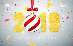 Ano novo feliz 2019, projeto dos números do ouro de cartão, confete brilhante de queda, bola do Xmas com curva vermelha, ilustraç ilustração do vetor