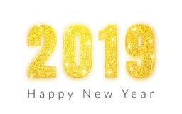 Ano novo feliz 2019, projeto dos números do ouro de cartão, ilustração do vetor ilustração royalty free