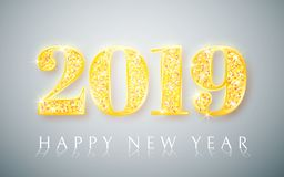 Ano novo feliz 2019, projeto dos números do ouro de cartão, ilustração do vetor ilustração do vetor