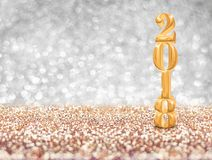 Ano novo feliz 2018 rendição do número 3d do ouro do ano no sparkli Imagens de Stock Royalty Free