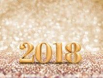 Ano novo feliz 2018 rendição do número 3d do ouro do ano no sparkli ilustração do vetor