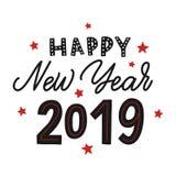 Ano novo feliz 2019 Rotulação da mão preta do vetor com estrelas vermelhas imagem de stock royalty free