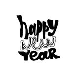 Ano novo feliz Rotulação moderna da caligrafia e da escova Foto de Stock Royalty Free