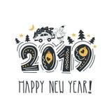Ano novo feliz Rotulando a frase alegre e brilhante Rotulação moderna para cartões, cartazes, t-shirt, etc. Com mão elementos tir ilustração stock