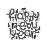 Ano novo feliz Rotulando a frase alegre e brilhante Rotulação moderna para cartões, cartazes, t-shirt, etc. Com mão elementos tir ilustração royalty free