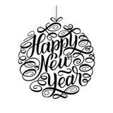 Ano novo feliz, rotulando o quadro de texto do círculo do projeto de cartão Ilustração do vetor Bola do brinquedo da árvore de Na Imagens de Stock Royalty Free