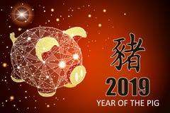 Ano novo feliz Símbolo chinês dos 2019 anos Vale-oferta festivo excelente Ilustração do vetor no fundo vermelho imagem de stock royalty free