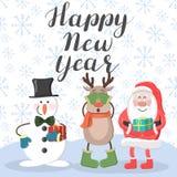 Ano novo feliz Santa, cervos e boneco de neve ilustração stock