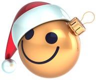 Ano novo feliz Santa do ouro da cara do smiley da bola do Natal Fotos de Stock Royalty Free