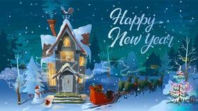 Ano novo feliz Tempo de inverno Noite do Natal, a casa da família antes de um feriado Uma ilustração para o cartão cartaz do ` s ilustração stock