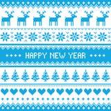 Ano novo feliz - teste padrão nórdico do azul do inverno Imagens de Stock