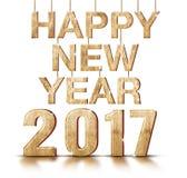 Ano novo feliz um número de 2017 anos no fundo branco do estúdio, Holid Fotografia de Stock Royalty Free