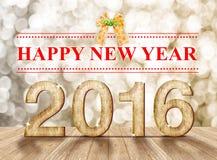 Ano novo feliz um número de madeira de 2016 anos na sala da perspectiva com sp Imagem de Stock Royalty Free