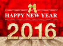 Ano novo feliz um número de madeira de 2016 anos na sala da perspectiva com sp Fotos de Stock Royalty Free