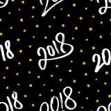 Ano novo feliz 2018 Vector o teste padrão sem emenda Fotografia de Stock