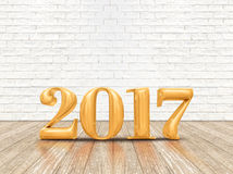 Ano novo feliz 2017 & x28; 3d rendering& x29; número da cor do ouro no pla da madeira Foto de Stock