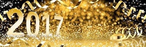 Ano novo, flâmulas douradas com brilho efervescente Fotos de Stock