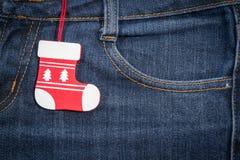 Ano novo, fundo do Natal Textura das calças de brim Imagens de Stock