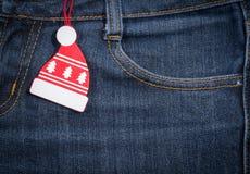 Ano novo, fundo do Natal Textura das calças de brim Imagem de Stock