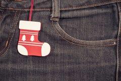 Ano novo, fundo do Natal Textura das calças de brim Fotos de Stock
