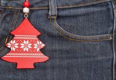 Ano novo, fundo do Natal Textura das calças de brim Fotos de Stock Royalty Free