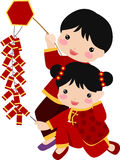 Ano novo Greetings_children Imagem de Stock