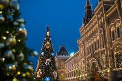 Ano novo, inverno Moscou em toda sua iluminação festiva fotos de stock