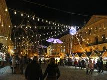 Ano novo justo, mercado do Natal Fotografia de Stock