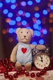 Ano novo mágico de ????? com urso de peluche Imagem de Stock