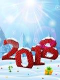 Ano novo 2018 na forma da tela feita malha na neve ilustração stock