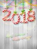 Ano novo 2018 na forma da vara dos doces como a decoração do Natal ilustração royalty free