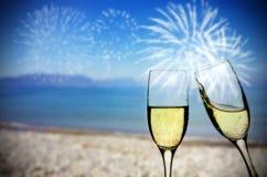Ano novo na praia imagem de stock royalty free