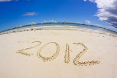 Ano novo na praia 2012 Imagens de Stock Royalty Free