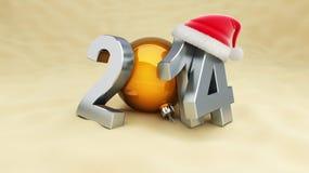 Ano novo 2014 na praia Imagens de Stock