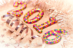Ano novo 2016 Natal Brilhante de prata festivo Foto de Stock Royalty Free