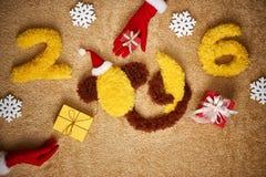 Ano novo 2016 Natal Macaco engraçado com banana Imagens de Stock