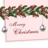 Ano novo, Natal Ramos verdes de uma árvore de abeto com uma sombra e os flocos de neve cartão Bolas de prata Ilustração Fotografia de Stock