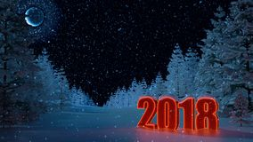 Ano novo 2018 Paisagem do inverno Fundo Figuras 2018 Imagem de Stock