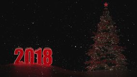 Ano novo 2018 Paisagem do inverno Fundo Figuras 2018 Lugar para a inscrição Nenhuns povos O close-up da lua Árvore de Natal filme